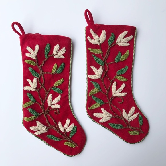 Embroidered Christmas Stockings.Chestnut Lane Embroidered Christmas Stockings
